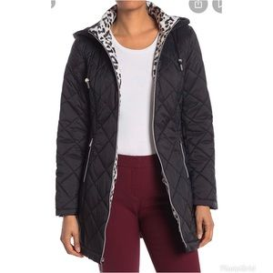 Laundry By Shelli Segal Quilted Zip Parka Black XL